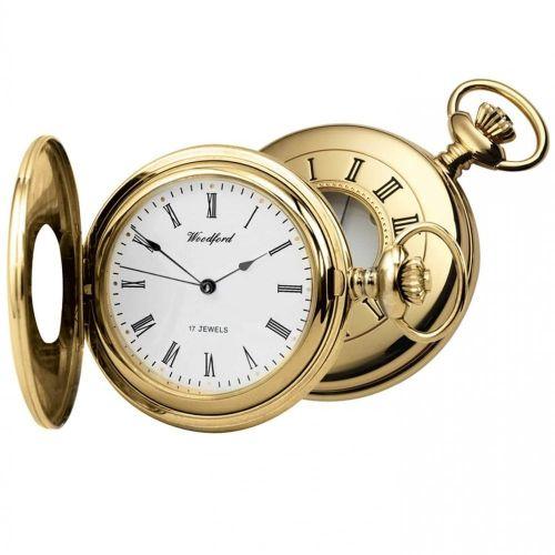 Half Hunter 17 Jewel Gold Mechanical Pocket Watch