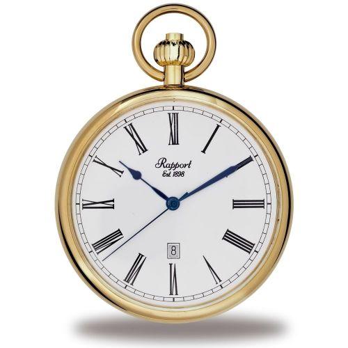Quartz Open Face Gold Tone Pocket Watch
