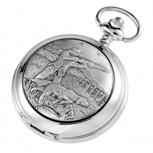 Double Hunter Shooting Chrome Pewter Mechanical Pocket Watch