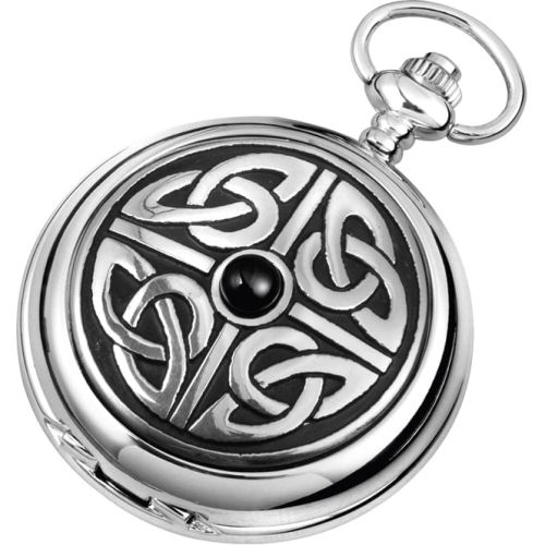 Celtic Knotwork Quartz Pocket Watch With Matching Chain