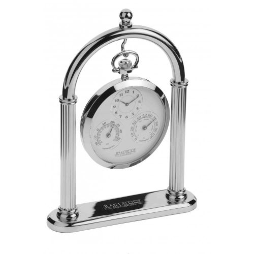 Polished Chrome Weather Station & Desk Clock With Stand