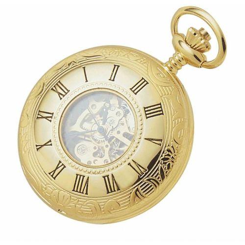 17 Jewel Gold Plated Mechanical Half Hunter Pocket Watch