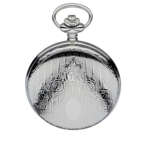 Chrome Polished Full Hunter Quartz Pocket Watch with Roman Indexes