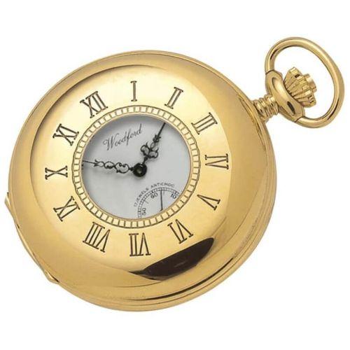 Gold Plated 17 Jewel Swiss Mechanical Half Hunter Pocket Watch 1015