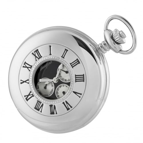 Chrome Plated Half Hunter Pocket Watch with Day/Date Display