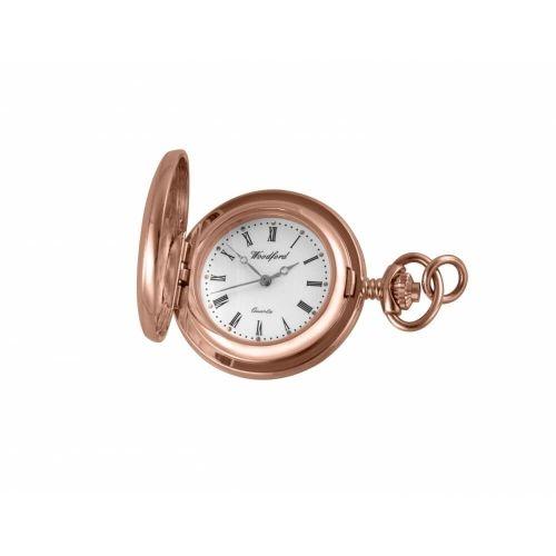 Rose Gold Plated Full Hunter Quartz Pendant Necklace Watch