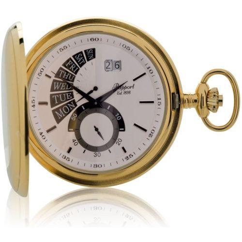 Gold Tone Date Display Full Hunter Pocket Watch