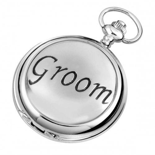 Groom Full Hunter Chrome/Pewter Quartz Pocket Watch