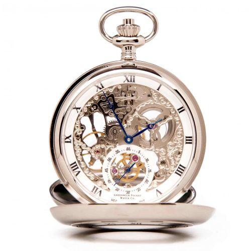 The Bridewell - Chrome Mechanical Double Half Hunter Pocket Watch