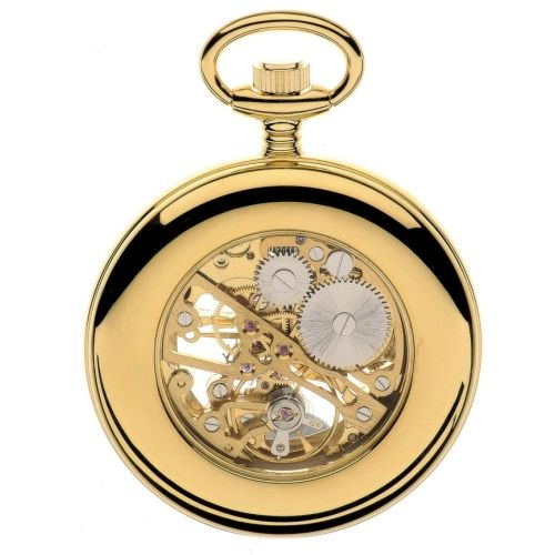 Gold Tone Swiss Mechanical Open Face Skeleton Pocket Watch with Roman Indexes