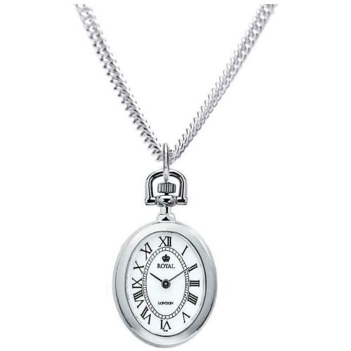Pvd Silver Plated Open Face Quartz Pendant Necklace Watch