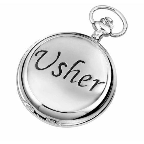 Usher Full Hunter Chrome/Pewter Quartz Pocket Watch