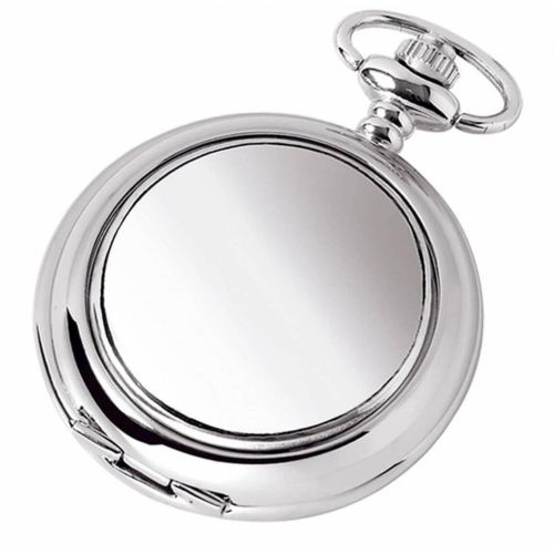 Plain Double Hunter Chrome/Pewter Mechanical Pocket Watch