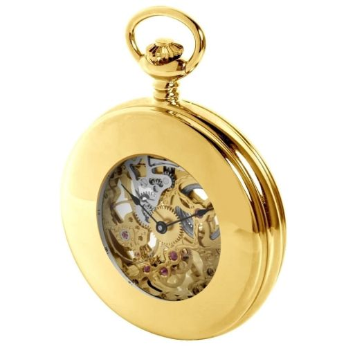 Gold Plated Mechanical Double Half Hunter Pocket Watch