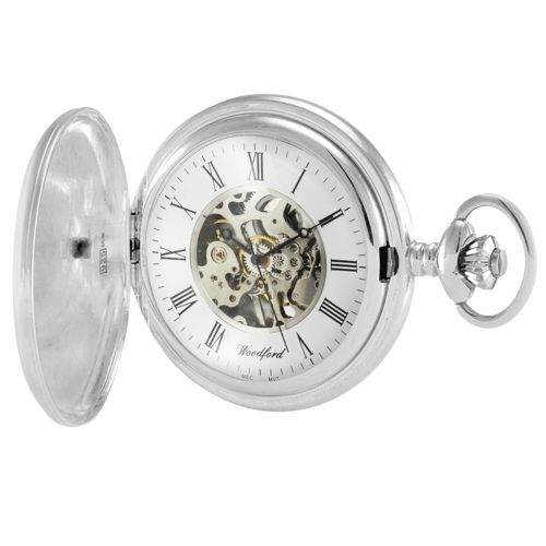 Sterling Silver Hallmarked Skeleton Full Hunter Pocket Watch