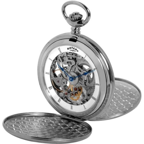 Chrome Double Hunter Mechanical Skeleton Pocket Watch