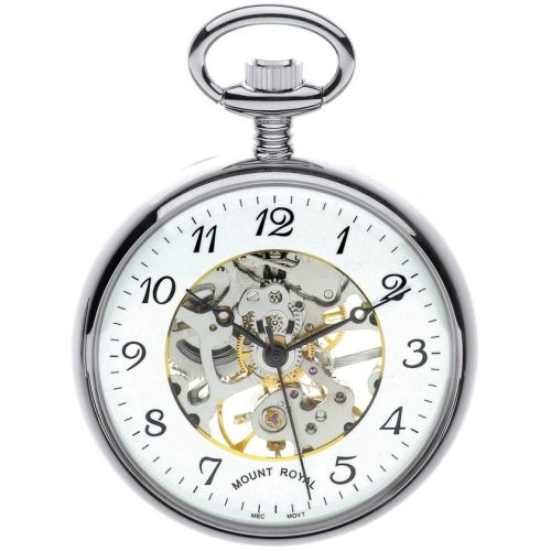 Chrome Plated Swiss Mechanical Open Face Skeleton Pocket Watch with Arabic Indexes