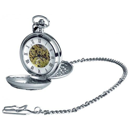 Chrome Double Hunter Monarch of the Glen Pattern Mechanical Pocket Watch