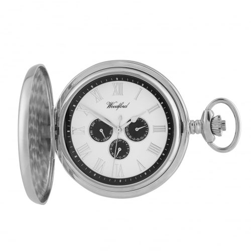 Chrome Full Hunter Pocket Watch with Day/Date Display