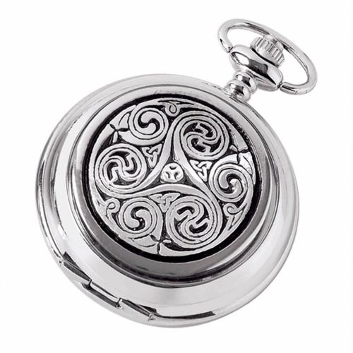 Double Hunter Celtic Chrome/Pewter Mechanical Pocket Watch