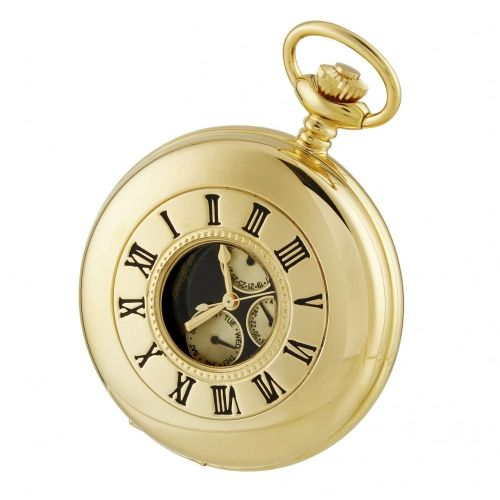Gold Plated Half Hunter Pocket Watch with Day/Date Display