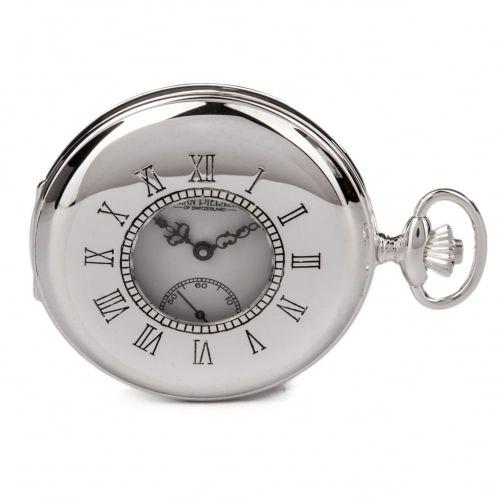 Half Hunter Sterling Silver Mechanical Pocket Watch