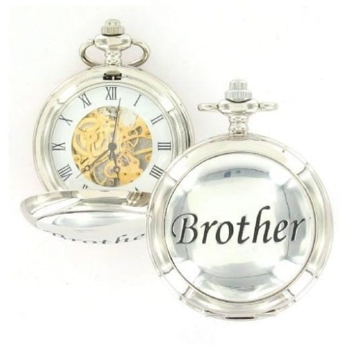 Brother Double Hunter Chrome Pewter Mechanical Pocket Watch