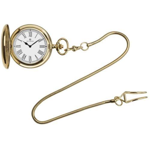 Gold Plated Quartz Full Hunter Pocket Watch With Roman Numerals & Snakeskin Belt Bar Chain