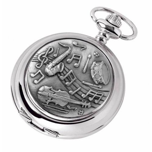Full Hunter Music Style Chrome Pewter Mechanical Pocket Watch