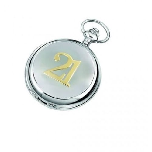 21 Two-tone Chrome/pewter Mechanical Double Hunter Pocket Watch