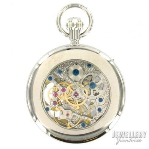 Chrome Plated 17 Jewel Sun/Moon Dial Mechanical Open Face Pocket Watch