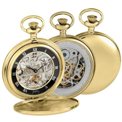 Gold Plated Open Back Skeleton Full Hunter Pocket Watch
