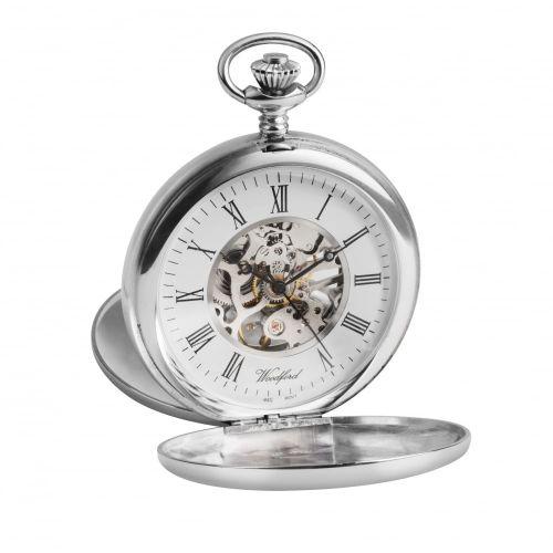 Sterling Silver Hallmarked Skeleton Double Hunter Pocket Watch