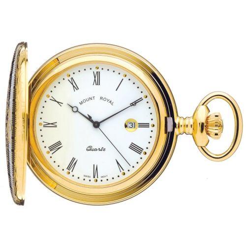 Gold Tone Swiss Quartz Full Hunter Pocket Watch