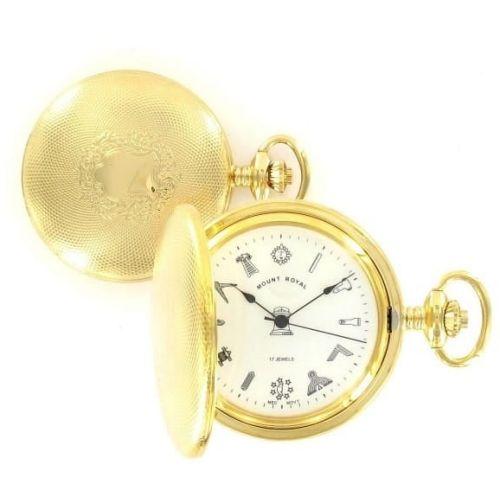 Gold Toned Masonic Mechanical Engine Turned Full Hunter Pocket Watch