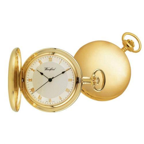Polished Gold Plated Full Hunter Mechanical Pocket Watch