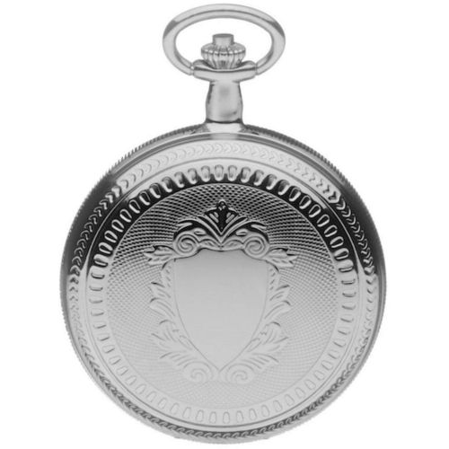 Chrome Polished Mechanical Double Hunter Pocket Watch With Roman Indexes