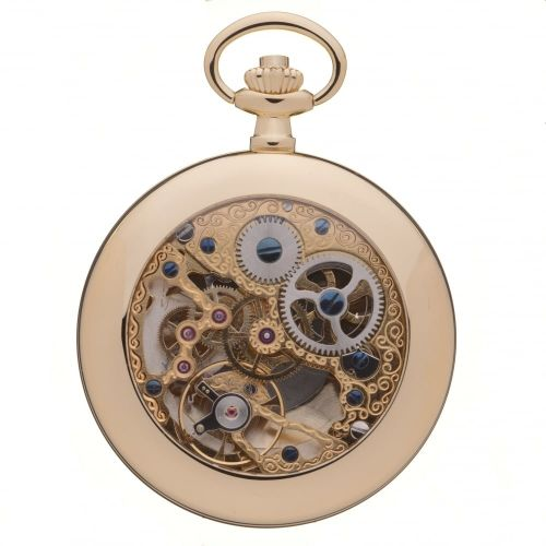 Gold Toned Half Hunter Mechanical Pocket Watch With Open Back