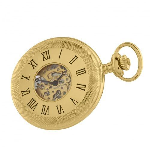 Gold Plated Mechanical Half Hunter Skeleton Open Back Pocket Watch