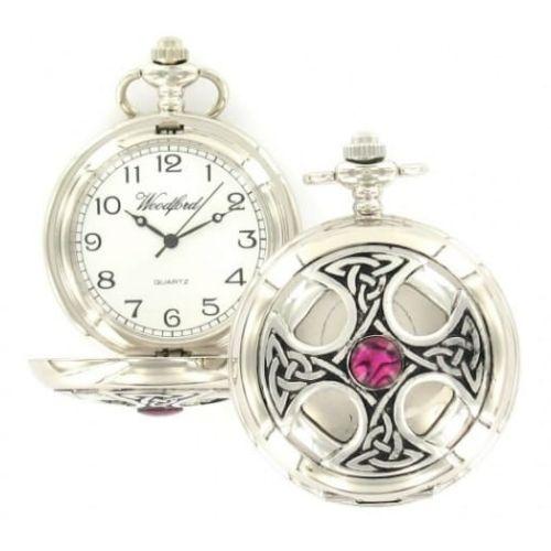 Celtic Cross Chrome/Pewter Quartz Full Hunter Pocket Watch