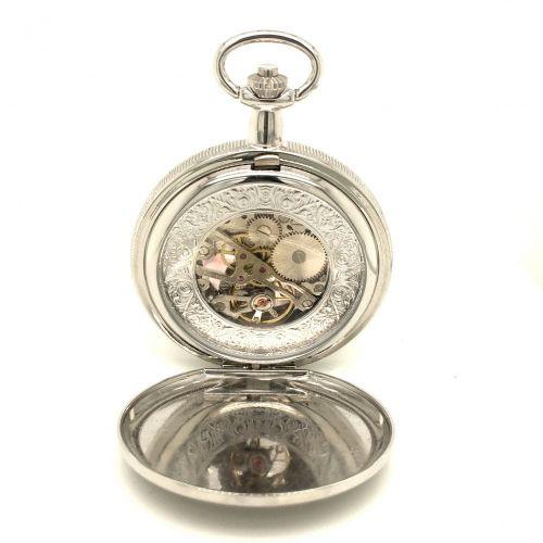 The Kew - Chrome Plated Photo Frame Mechanical Pocket Watch