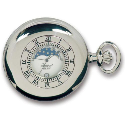 Silver Tone Moon Phase Half Hunter Quartz Pocket Watch