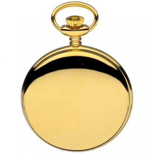 Gold Tone Swiss Quartz Full Hunter Pocket Watch With Roman Indexes