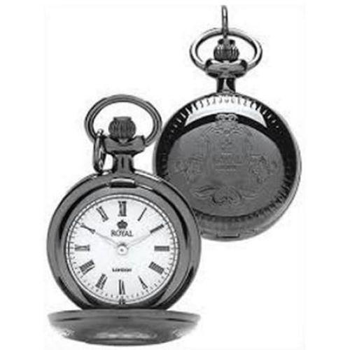 Ladies Pvd Black Full Hunter Pendant Necklace Watch