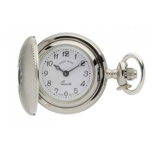 Silver Tone Full Hunter Quartz Pendant Necklace Watch with Pattern