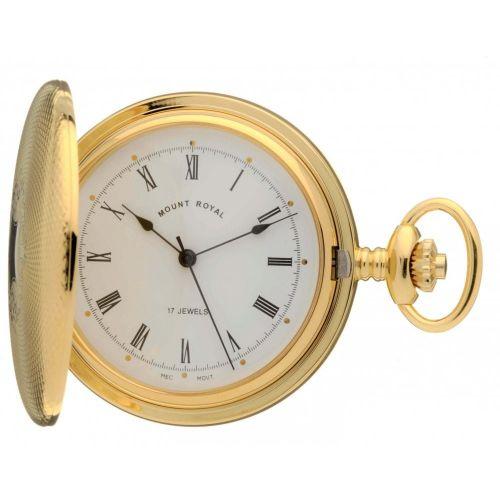 Gold Tone Mechanical Full Hunter Pocket Watch