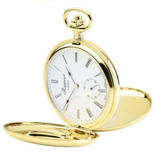 17 Jewel Mechanical Double Hunter Skeleton Back Gold Plated Pocket Watch