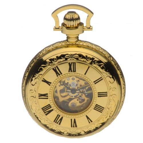 Gold Tone Mechanical Double Half Hunter Pocket Watch With Roman Indexes