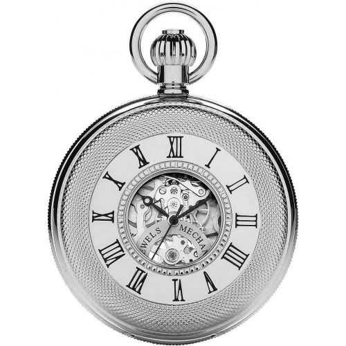 Chrome Double Half Hunter Mechanical Pocket Watch With Roman Numerals