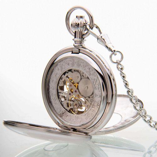 The Richmond - Chrome Mechanical Double Half Hunter Pocket Watch